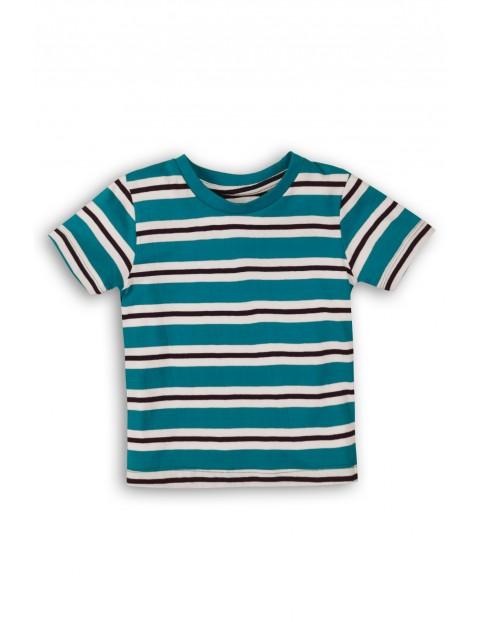 Niebieski t-shirt w paski dla niemowlaka