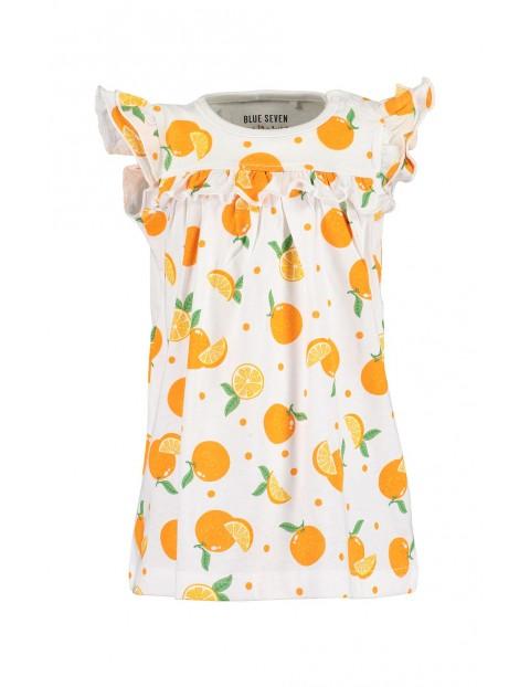 Sukienka dziewczęca biała w pomarańcze z ozdobnymi rękawami