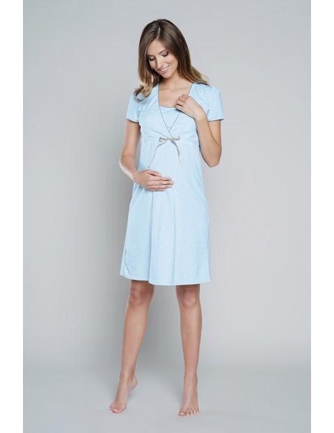 Koszula nocna dla przyszłej mamy FELICITA krótki rękawek - niebieska