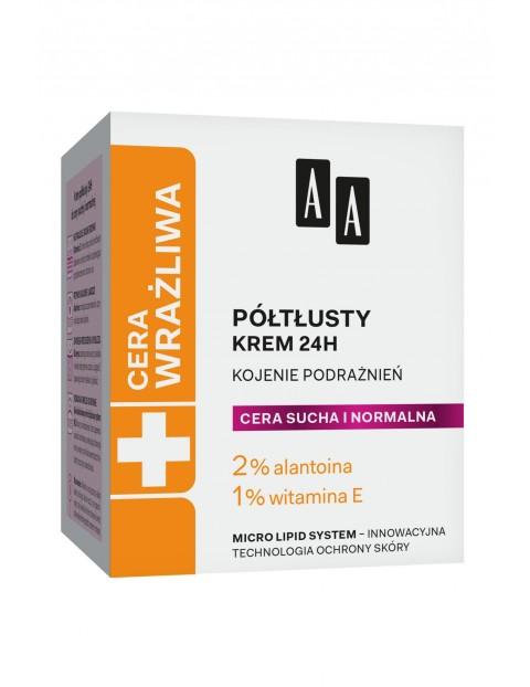 AA Cera Wrażliwa krem półtłusty do każdego rodzaju cery 24h - bezzapachowy 50 ml
