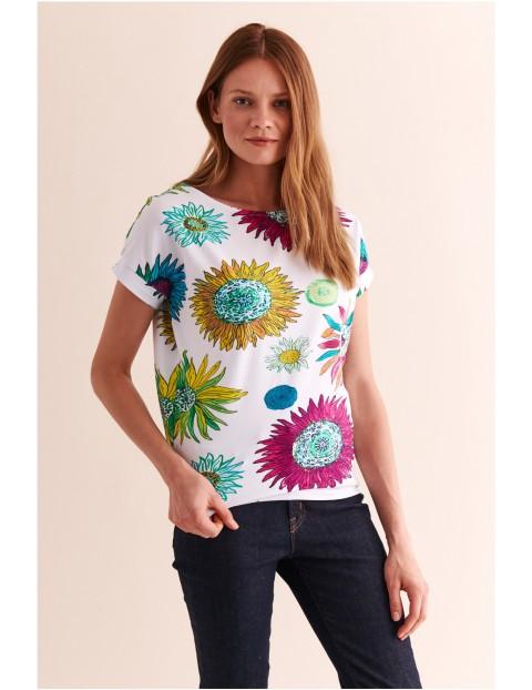 Bluzka damska biała w kwiaty