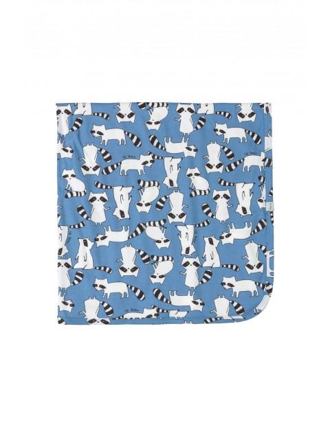 Kocyk niemowlęcy  w szopy - niebieski 90x90cm