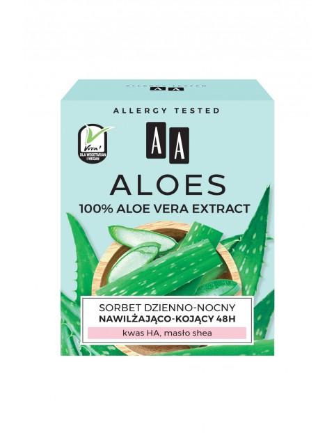 AA Aloes 100% aloe vera extract sorbet dzienno-nocny 48h nawilżająco-kojący 50 ml