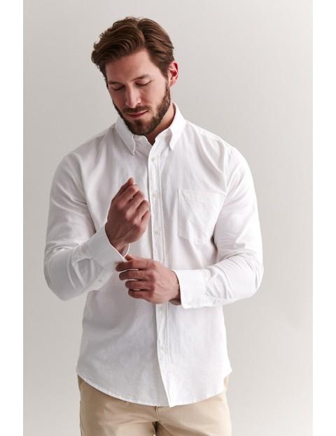 Bawełniana biała koszula męska z długim rękawem