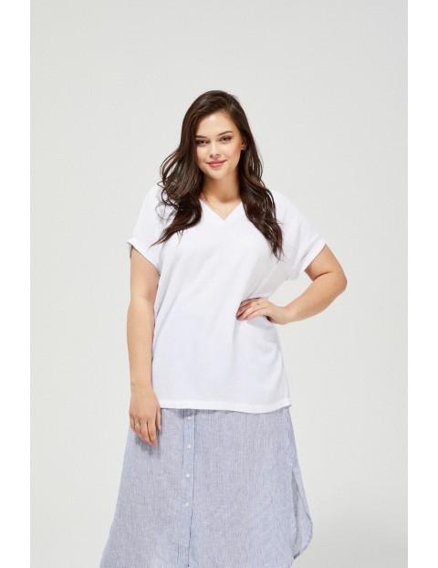 Bluzka damska koszulowa oversize na krótki rękaw-biała