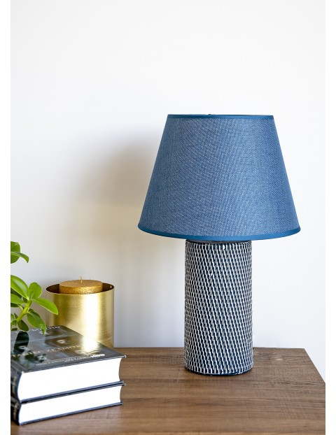 Lampa stołowa z podstawa ceramiczną Nolan granatowa