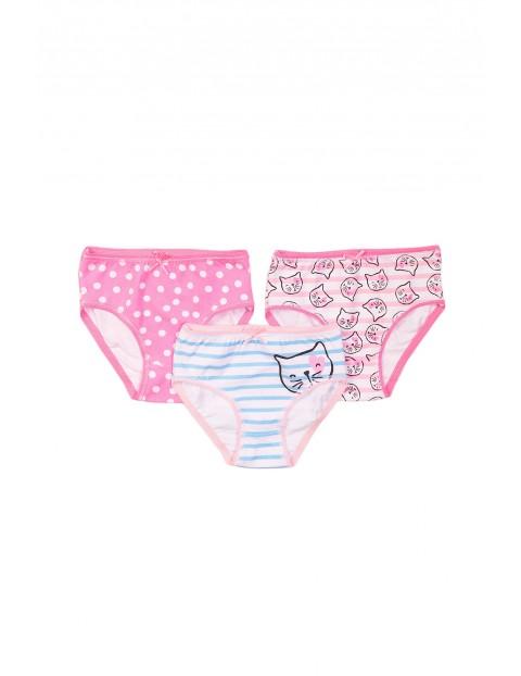 Majtki dziewczęce 3pak różowe w koty