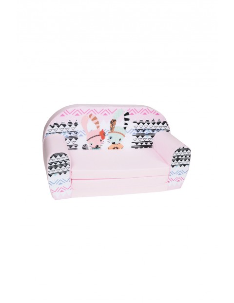 Rozkładana piankowa sofa dla dziewczynki Delsit Różowa we wzorki