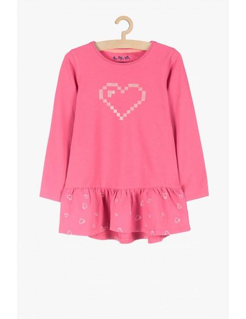 Tunika dziewczęca - różowa w srebrne serduszka