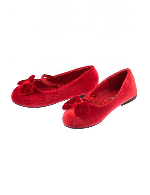 Buty baleriny dziewczęce czerwone z kokardą