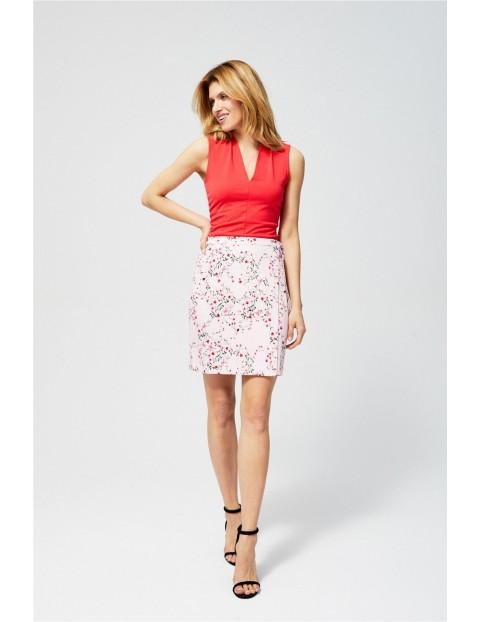 Spódnica damska kopertowa z kwiatowym nadrukiem różowa