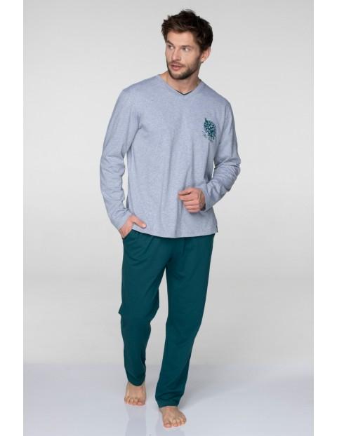 Bawełniana piżama męska - zielono - szara