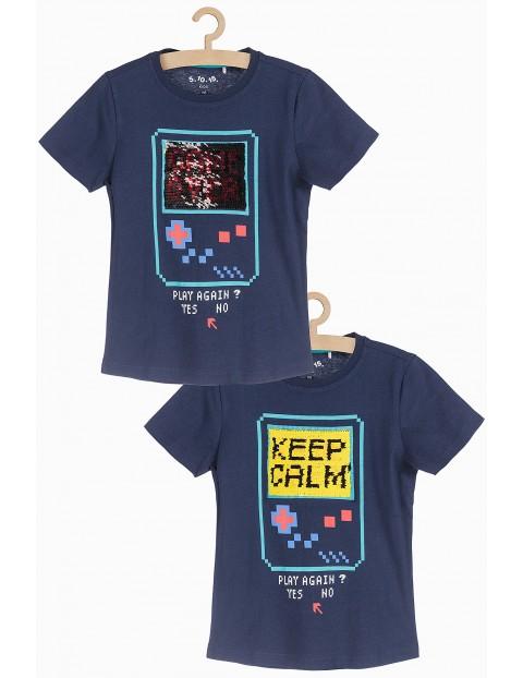 T-shirt dla chłopca z dwustronnymi cekinami- Game