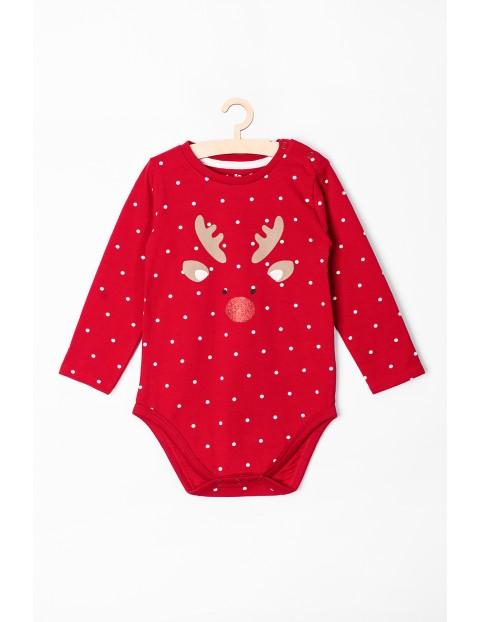 Body niemowlęce czerwone z reniferem