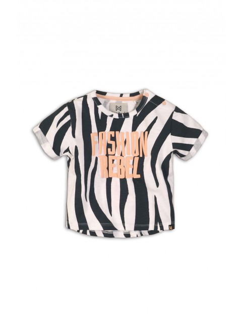 """T-shirt dziewczęcy czarno-biały """"Fashion Rebel"""""""