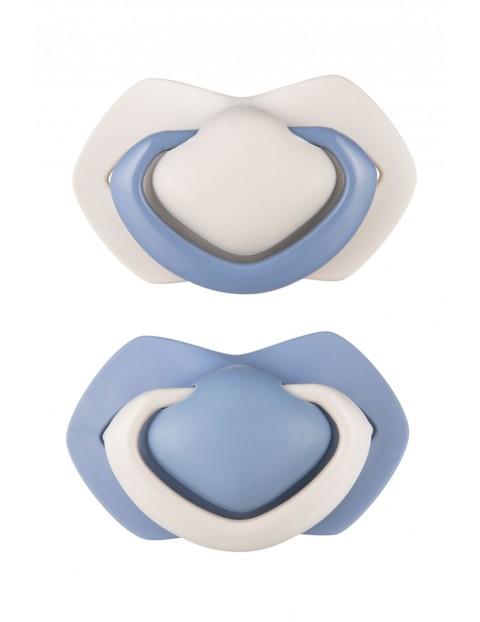 Smoczki uspokajające silikonowe symetryczny PURE - niebieski 6-18m