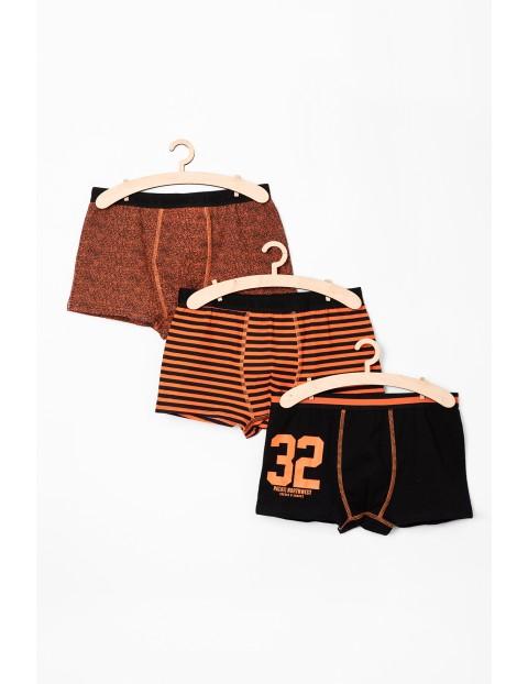 Bokserki dzianinowe dla chłopca- czarno-pomarańczowe 3pak