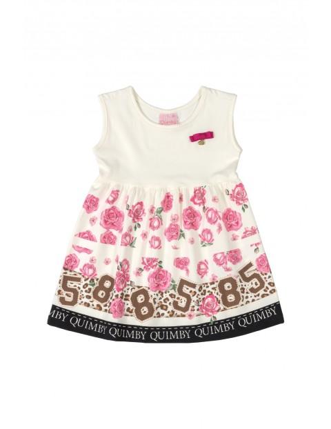 Sukienka dziecięca w kwiatki - biała