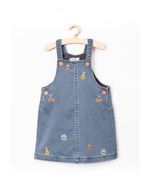 Sukienka niemowlęca jeansowa na szelkach- niebieska