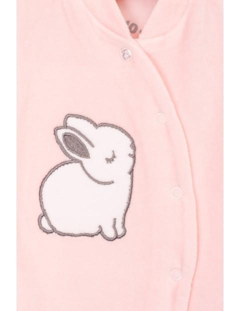 Pajac różowy welurowy z króliczkiem