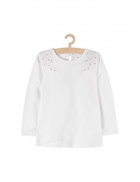 Bluzka dziewczęca biała z ozdobnym haftem i cekinami
