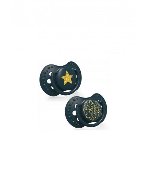 LOVI Smoczek silikonowy dynamiczny Stardust - zielony 18m+ 2 szt