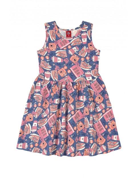 Sukienka dziewczęca we wzorki - niebieska