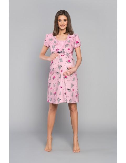 Koszula nocna ciążowa w LENIWCE z krótkim rękawem- różowa