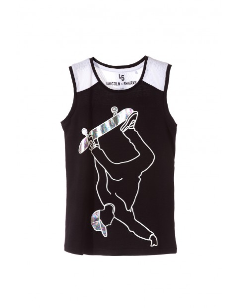 Koszulka sportowa dla chłopca-czarna z holograficznym nadrukiem