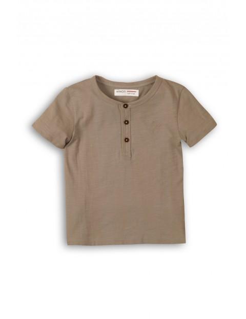 T-Shirt chłopięcy brązowy bawełniany