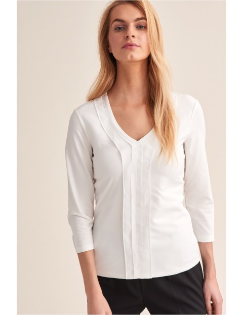 Bluzka z ozdobnym dekoltem- biała