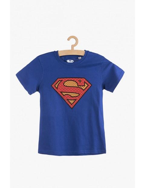 T-Shirt chłopięcy bawełniany- Superman niebieski