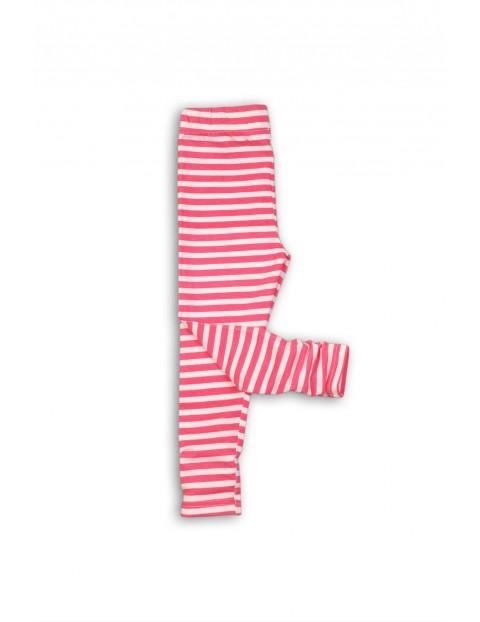 Leginsy dziewczęce w paski- różowe
