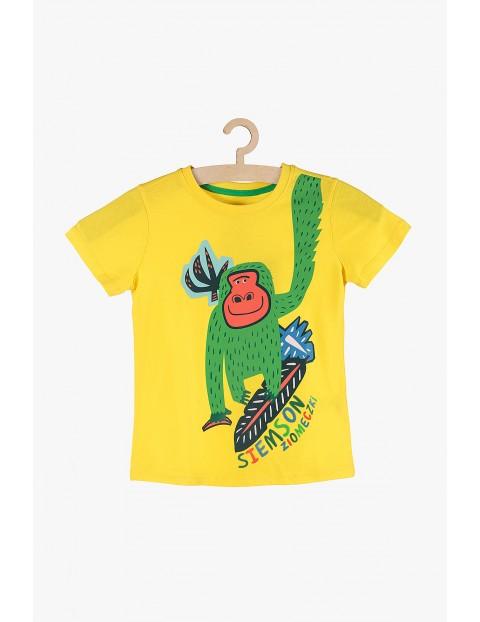 T-shirt chłopięcy żółty z kolorowymi nadrukami