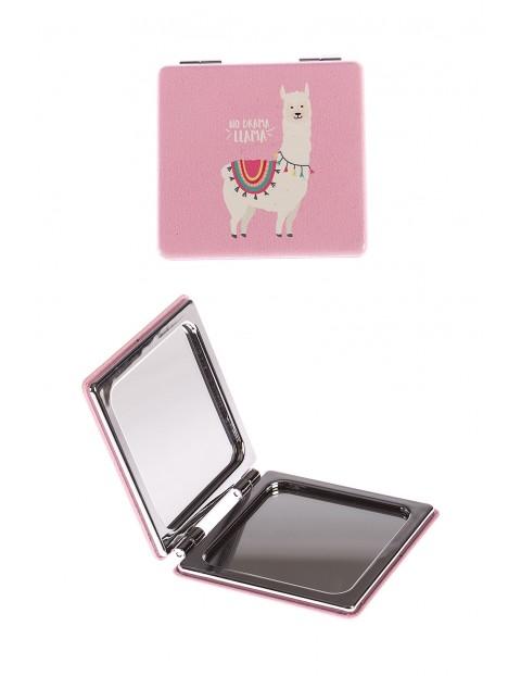 Lusterko dla dziewczynki- różowe z lamą