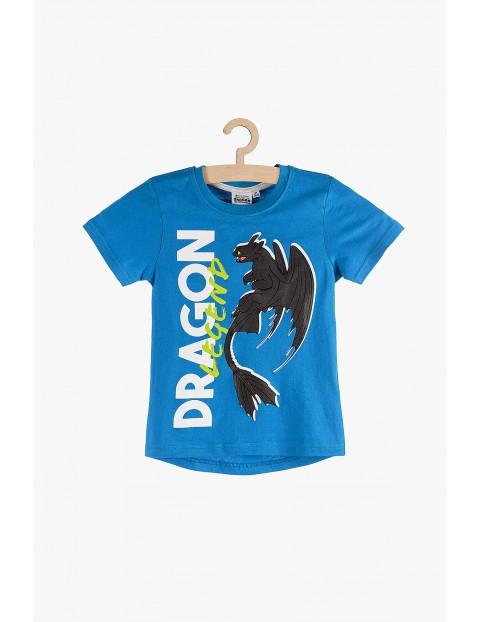 """T-Shirt chłopięcy niebieski """"Jak wytresować smoka?"""""""