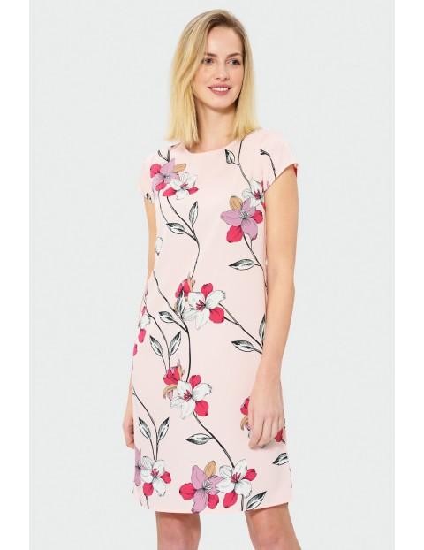 Sukienka z krótkim rękawem, długość do kolana- różowa w kwiaty