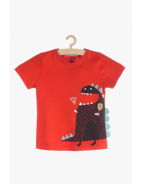 T-Shirt chłopięcy czerwony z potworkiem i elementami 3d