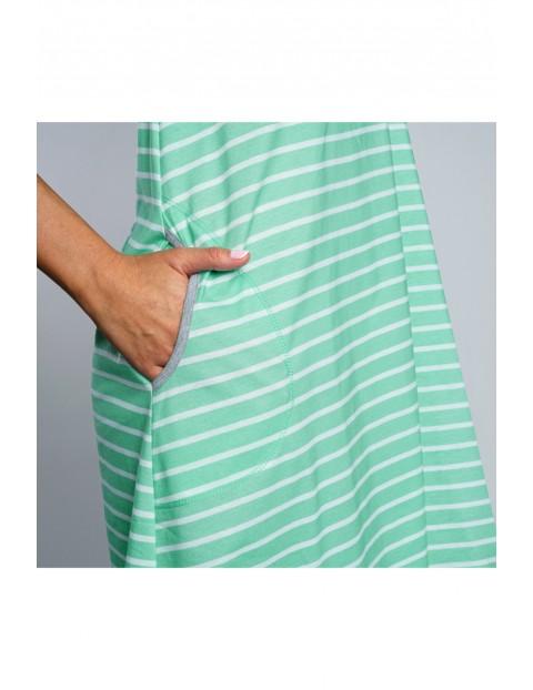 Koszula nocna damska w biało - zielone paski na cienkie ramiączka