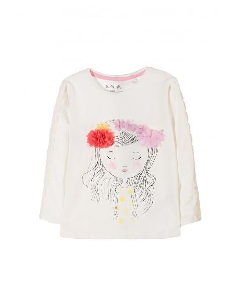 Bluzka dziewczęca- nadruk z dziewczynką kwiatki 3D