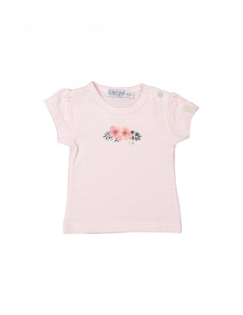 T-shirt niemowlęcy w różowo-białe paski