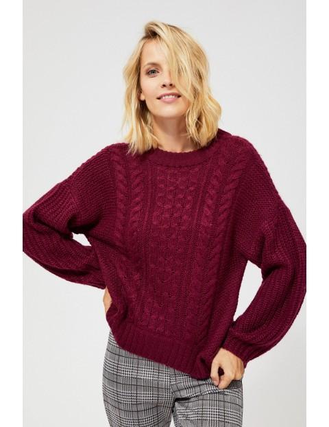 Sweter o wyraźnym splocie- bordowy