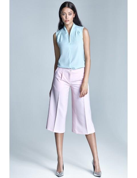 Damskie spodnie jasnoróżowe culottes