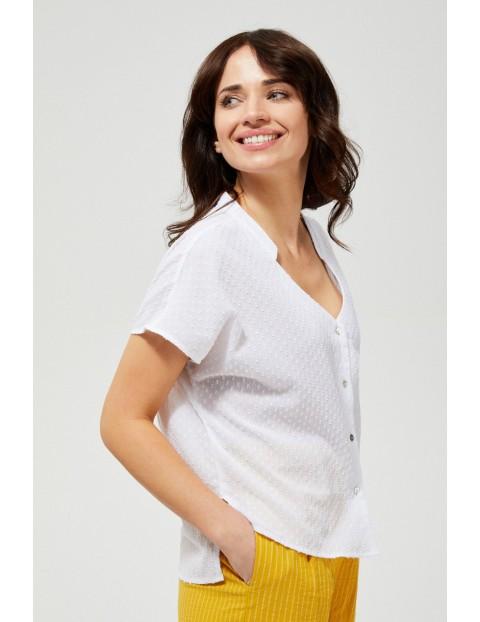 Koszula damska bawełniana a na krótki rękaw oversize biała