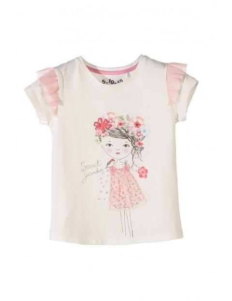 T-shirt dziewczęcy z tiulową falbanką przy rękawie