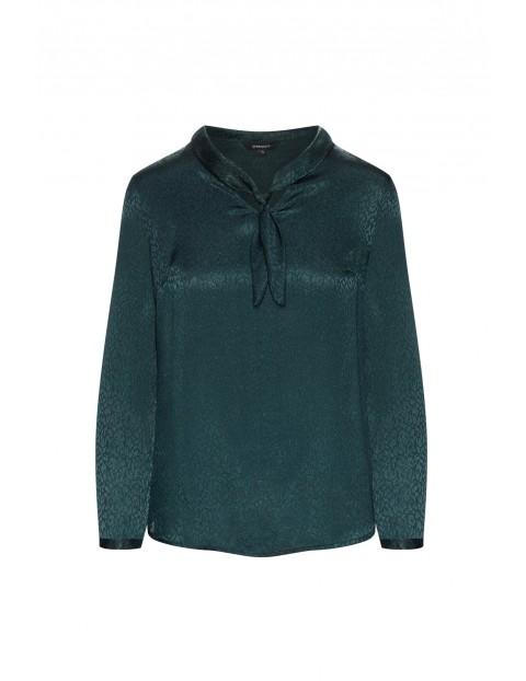 Elegancka bluzka damska z ozdobnym wiązaniem - zielona