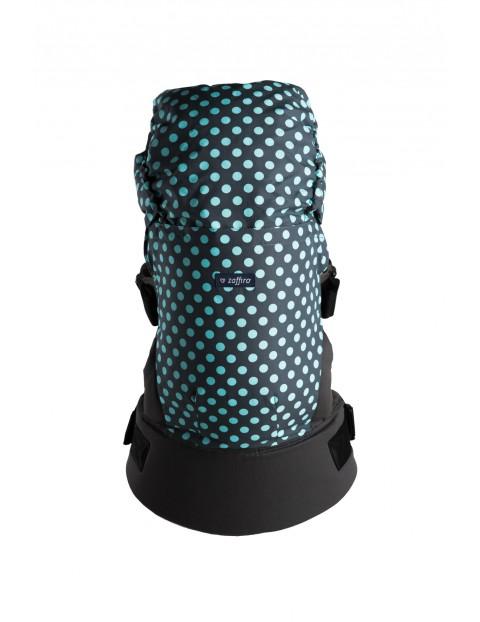 Nosidełko Zaffiro CARE grochy szaro-turkusowe 6-18kg