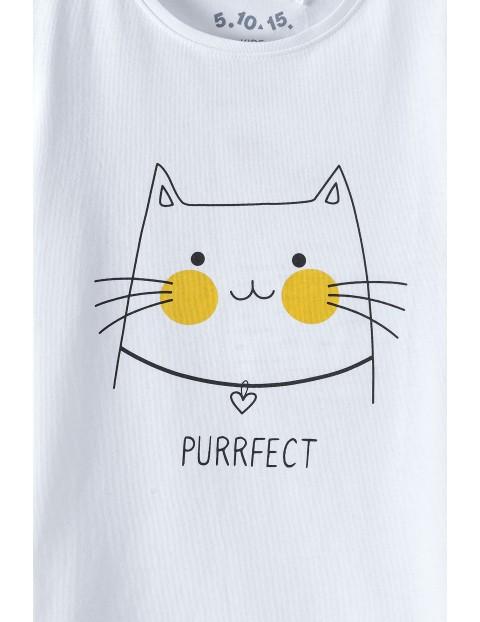 Bluzka dziewczęca z kotkiem i z napisem Perrfect - biały