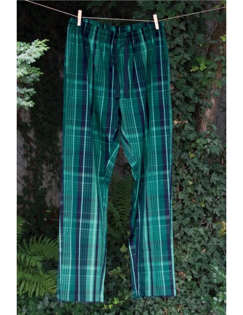 Długie męskie spodnie w zieloną kratę - zielone