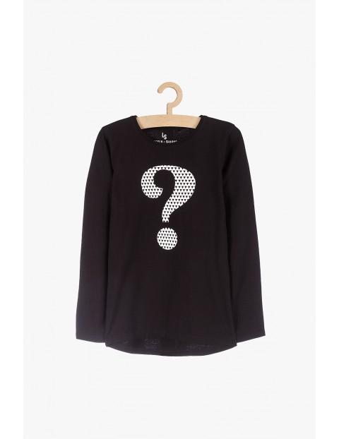 Czarna dzianinowa bluzka dziewczęca- długi rękaw
